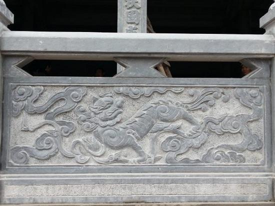 Mẫu lan can đá khắc Tứ Linh