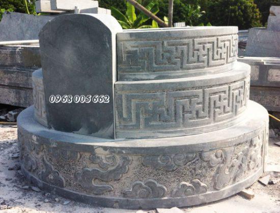 Mẫu mộ đá tròn làm bằng đá xanh đen