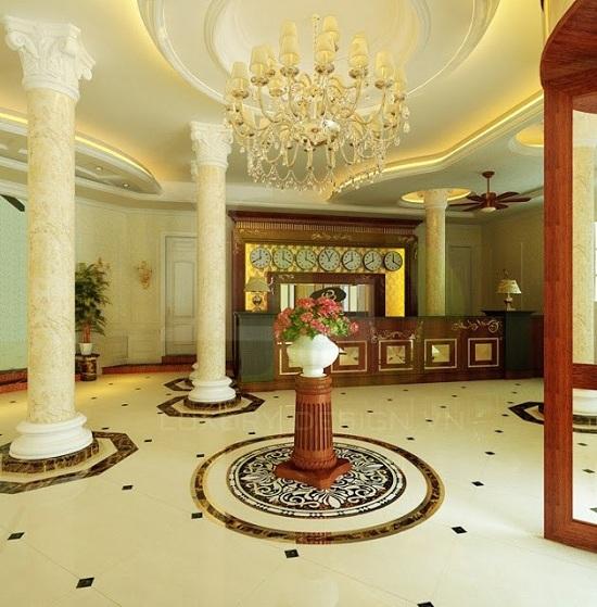 Cột đá cẩm thạch được sử dụng nhiều trong nhà ở dân dụng