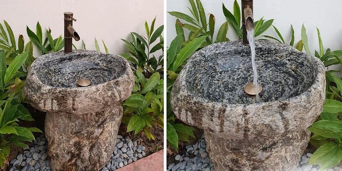 lavabo đá đều được làm từ đá nguyên khối tự nhiên